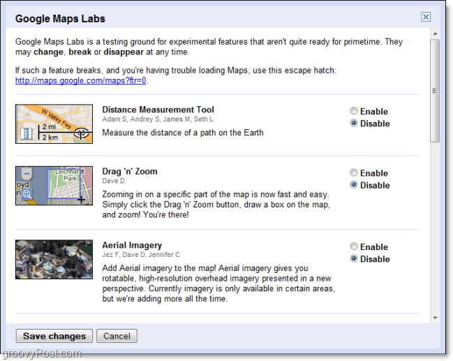 google maps labs features