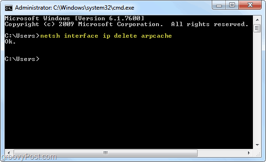 arp cache in windows 7