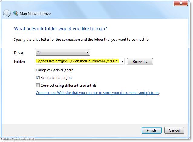 insert the skydrive url into the Folder box