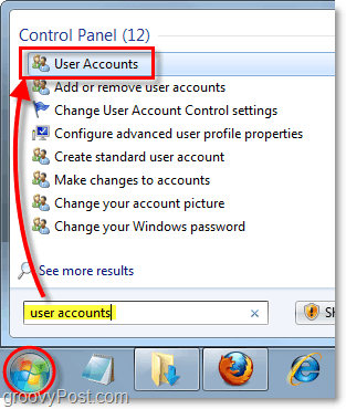 open user accounts control panel in windows 7