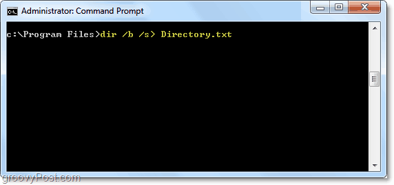 use dir /b /s > directory.txt to output a dir query to a text file