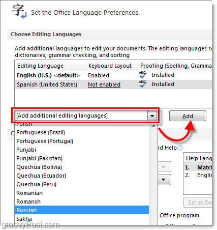 add additional office 2010 languages
