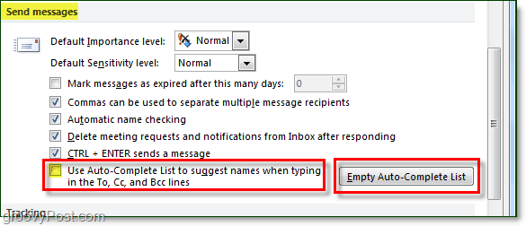disable auto-complete in outlook 2010 and clear the auto-complete cache