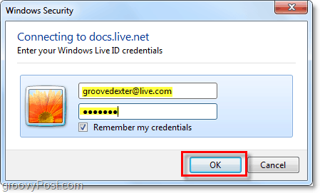 enter your windows live account user name and password in microsoft office 2010
