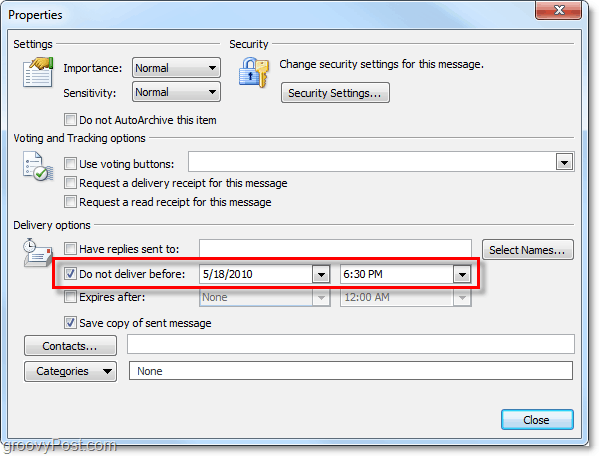 schedule an email in Outlook 2010