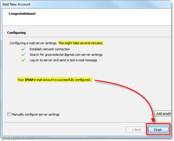 click finish once your IMAP email account is configured