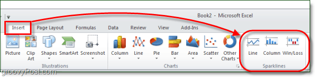 sparklines in the excel 2010 ribbon