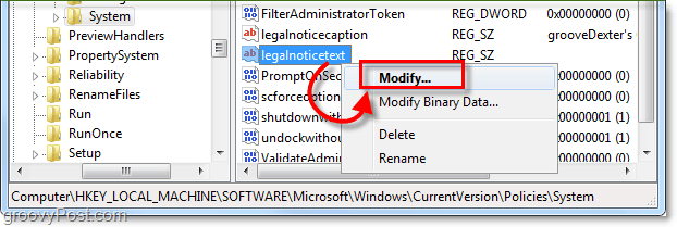 modify the legalnoticetext to create a windows 7 startup message
