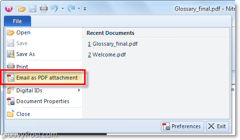 email pdf as attachment in office 2010