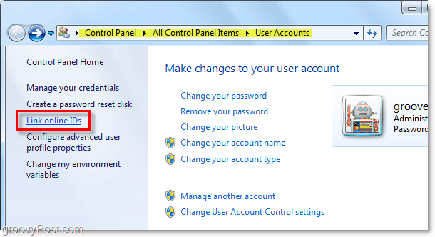 how to link online id's in windows 7