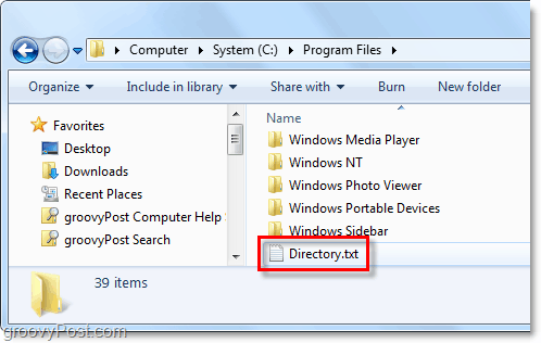 a directory.txt file is created on your windows system