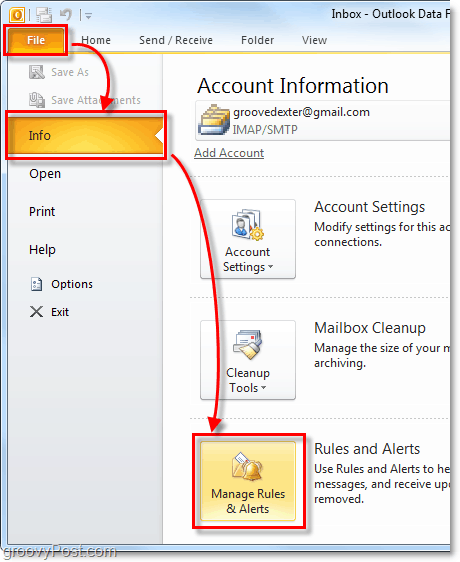 manage rules and alerts in Outlook 2010