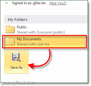 select a windows live skydrive folder