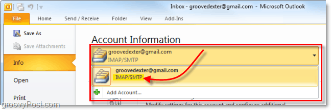 confirm the account was added to outlook 2010
