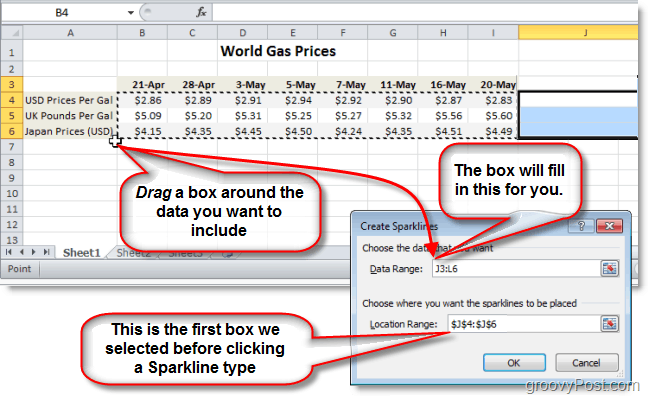 select the data range for your excel 2010 sparkline