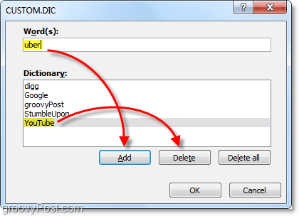 add or remove words from the office 2010 custom dictionary file