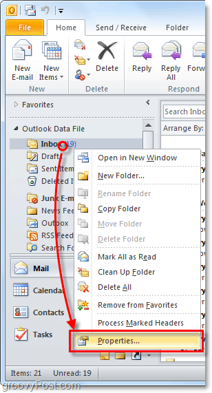 adjust autoarchive features for individual Outlook 2010 folders