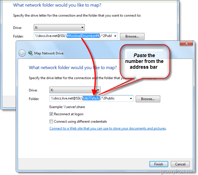 paste your windows live id into map network drive