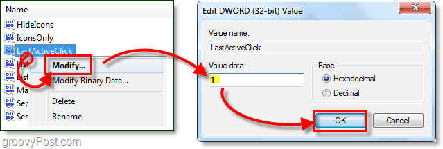 change the value data of lastactiveclick to 1