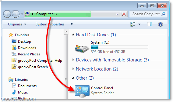 view the control panel from my computer in windows 7