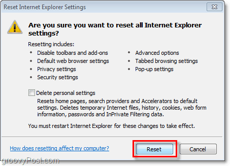 IE8 reset confirmation window