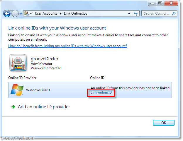 link windows live id to windows 7 account