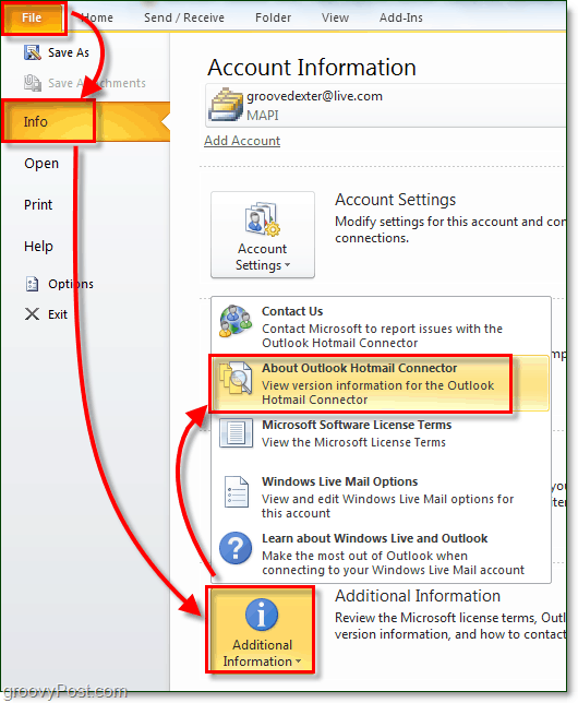 verify your outlook hotmail connector installation
