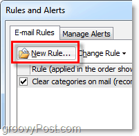 create a new rule in Outlook 2010