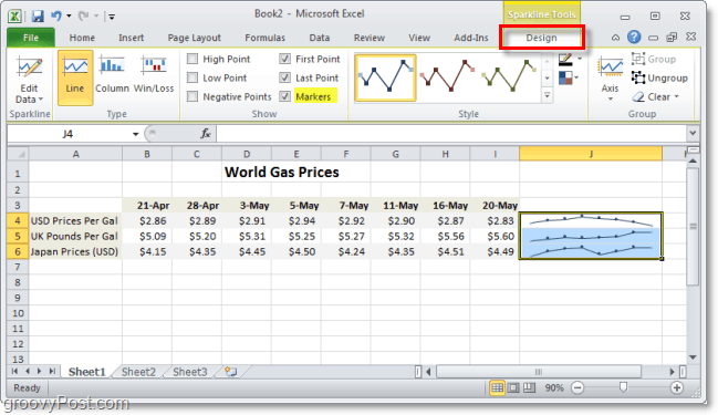 customize your excel 2010 sparklines