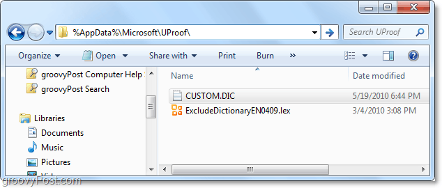 real location of the custom.dic file of office 2010