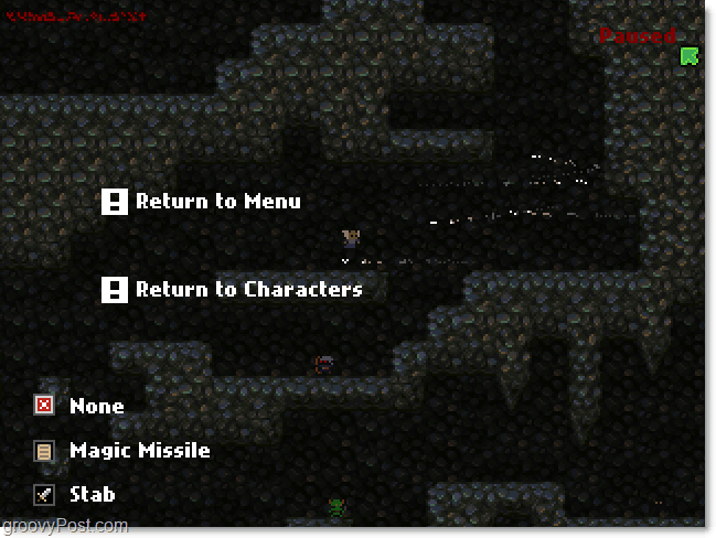 Great Dungeon In The Sky pause menu