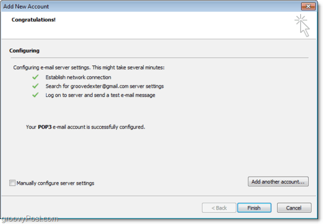Outlook 2010 Automatically Detects Conection and Connects With Settings