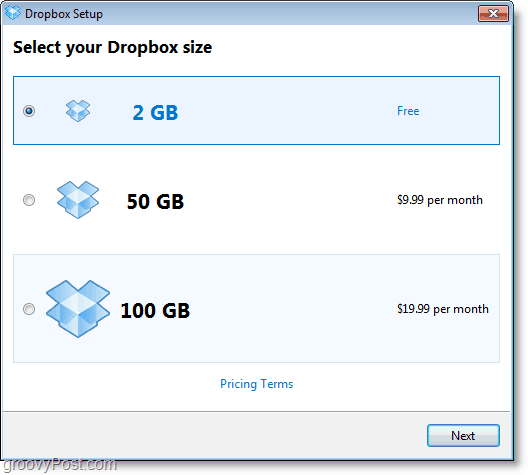 Dropbox screenshot - get a free 2GB account