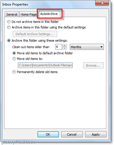 Outlook 2010 autoarchive folder tab