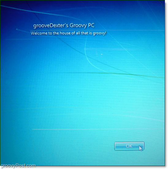 Windows 7 start up message legal notice