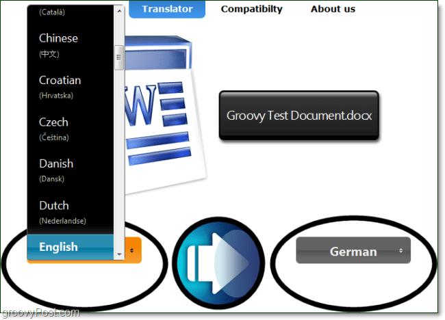 choose a document translation start and finish language