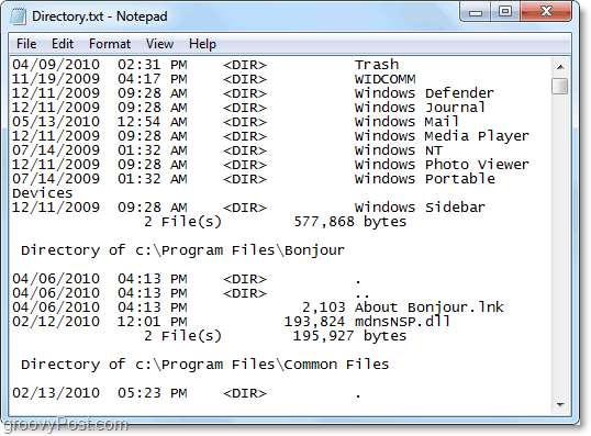 a complete list of all contents in a directory including a sub-folder and sub-files