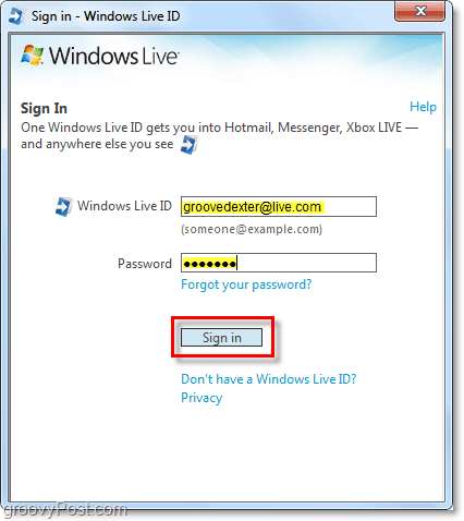 sign in to windows live automatically using a windows 7 account