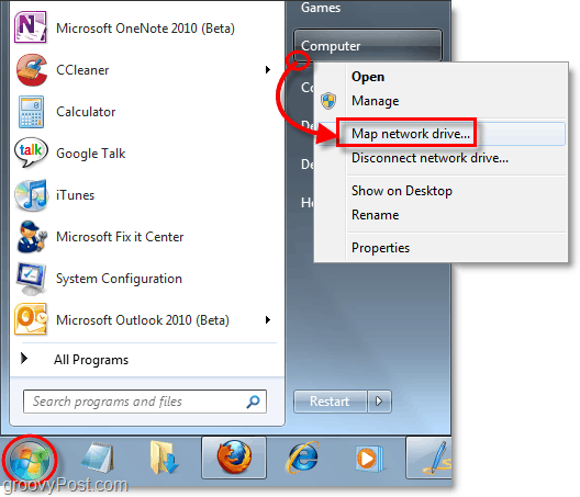 map a network drive in windows 7
