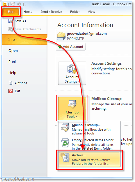manual archive in Outlook 2010