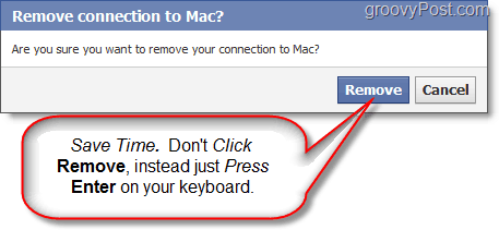 press enter to quickly delete a facebook page durin the confirmation dialog