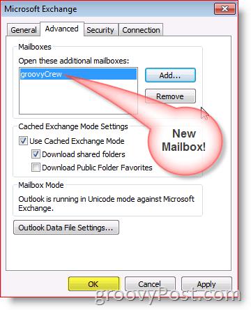 Outlook 2010 Screenshot add mailbox advanced tab