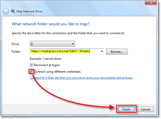 paste in your windows live skydrive url to the mapped network drive opion and check conect usin different credentials then click finish.