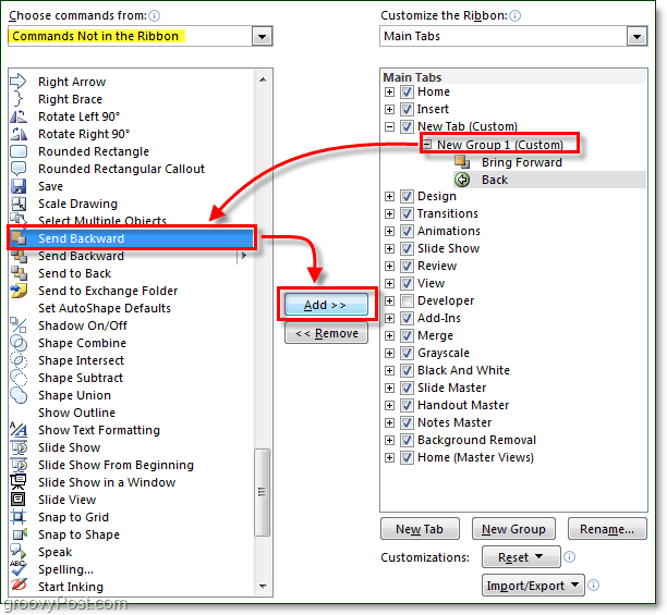 add commands to ribbon in office 2010