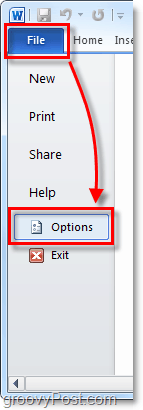 go to options in office 2010