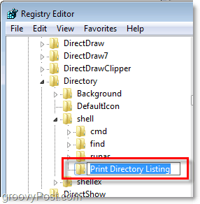 name the new key Print Directory Listing