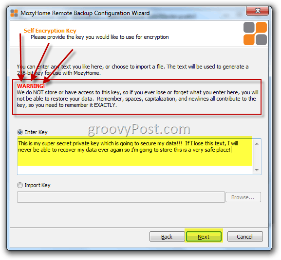 Encrypt Mozy Account with Private Key Warning