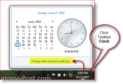 Windows 7 display clock from Taskbar