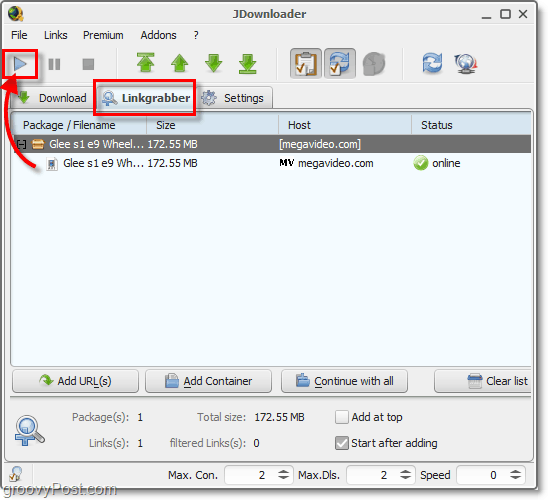 linkgrabber feature in jdownloader