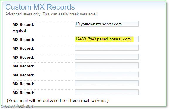 past your live services mx server information onto your domain advanced options page for custom mx records